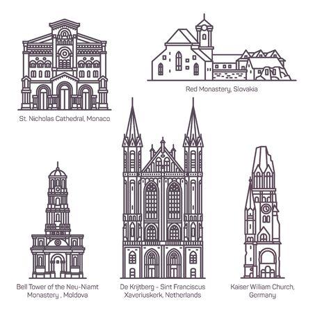 Set of thin line old european churches. Religion