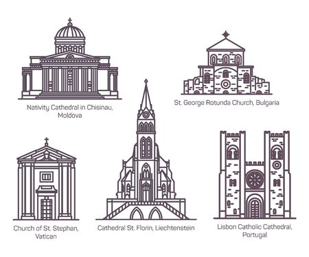 European church and cathedral buildings, line set 矢量图像