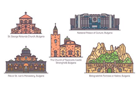 Bulgaria architecture monuments, set in thin line