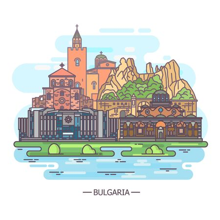 Scenic view on Bulgaria historical landmarks, line
