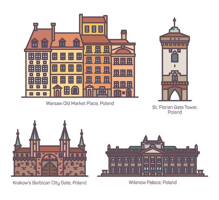 Famous Poland architecture landmarks in line, set