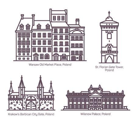 Thin line Poland or Polish architecture buildings Ilustração
