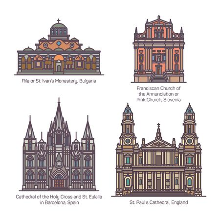 Set of christian european church in thin line Ilustração