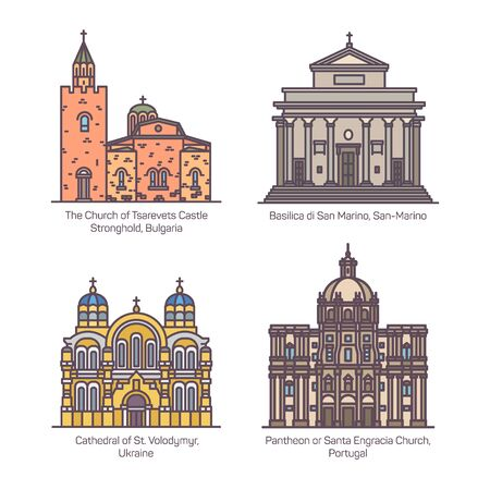Set of churches and cathedral, basilica of Europe