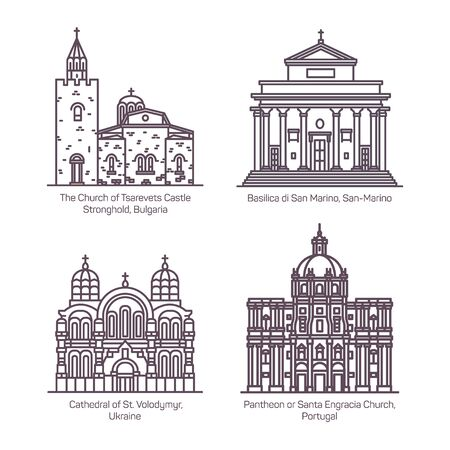 Set of isolated thin line churches and cathedral Ilustração