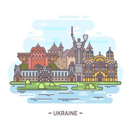 Panorama of Ukraine famous landmarks in line  イラスト・ベクター素材