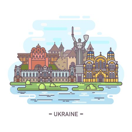 Panorama of Ukraine famous landmarks in line Illustration