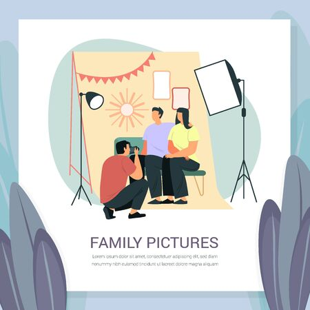 Family photoshoot with softbox light and frames. Professional photographer session for wife and husband, married couple. Photo studio scene with simple cartoon people. Man with camera photographing