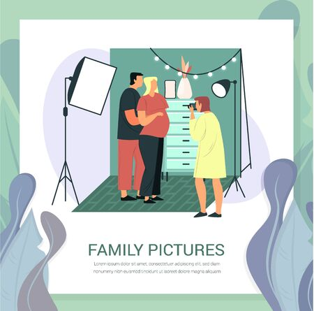 Pregnant woman and husband at photoshoot. Photographer with camera making photo of family couple. Bride and man at photo studio. Married people with photographer and chest drawers. Photography room