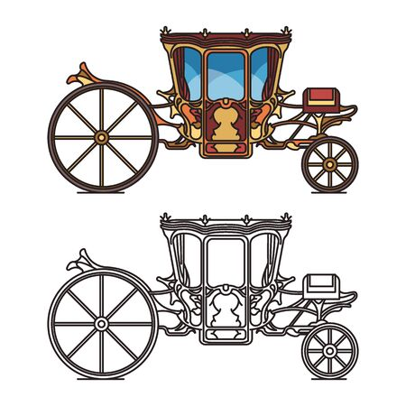 Isolated icons for fairytale carriage or chariot