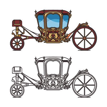 Wedding carriage or outline of retro royal chariot