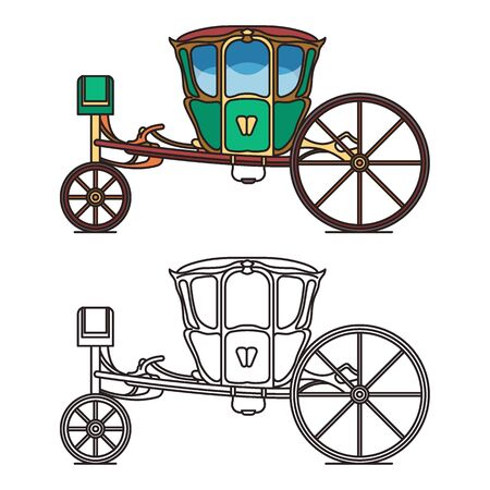 Green retro buggy or king horse chariot, carriage