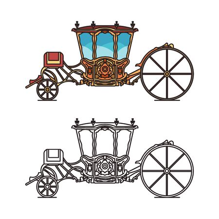 Icons of retro buggy or chariot for weddings