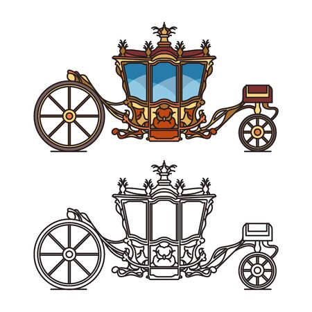 Horse carriage or vintage chariot for marriage Illustration