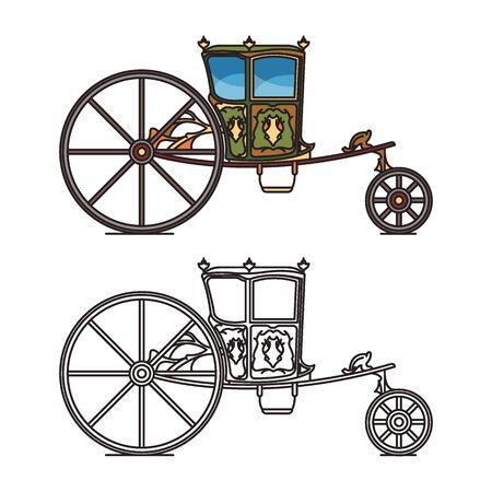 Retro wedding carriage or queen, princess chariot