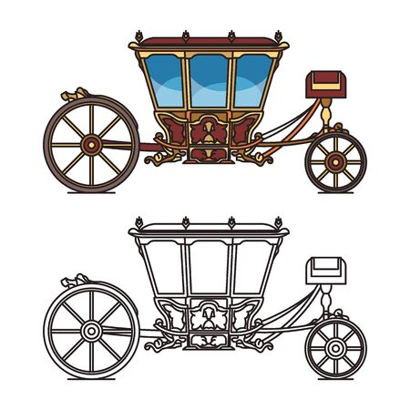 Vintage chariot for wedding, retro horse carriage Illustration