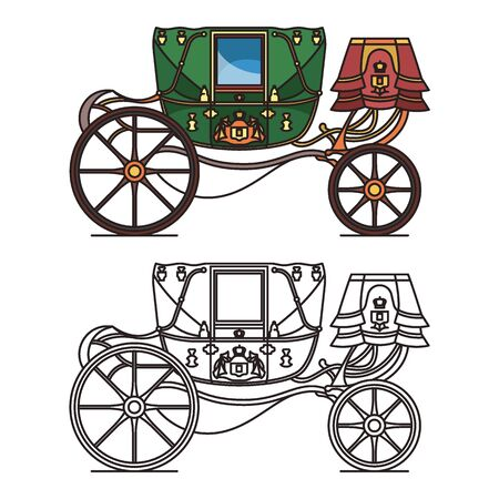Retro buggy for wedding or vintage royal chariot. Coach or old victorian transport. Fairytale queen or princess cart or brougham, medieval wagon. Outline and contour icons. Wedding, marriage carriage Illustration