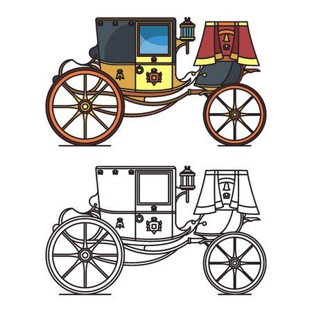 Vintage carriage or wedding waggon, royal chariot