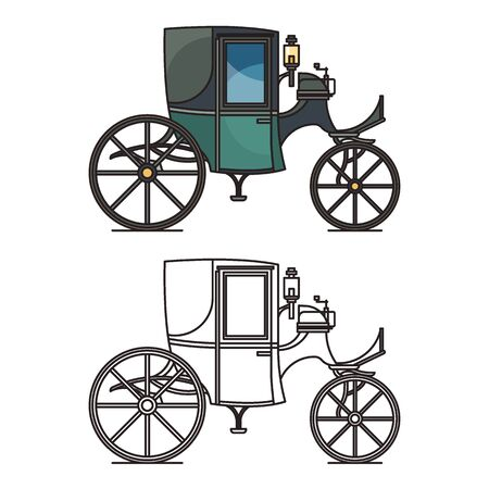 Closed XIX century automobile or electric coupe,