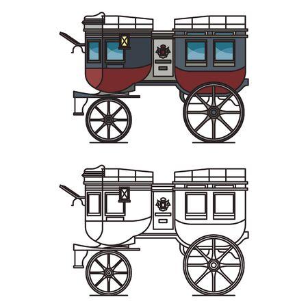 Isolated carriage or britzchka contour, perth cart
