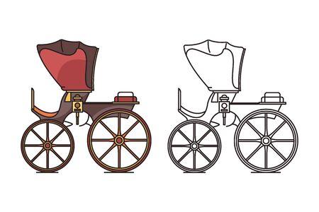 Retro vintage carriage, buggy for royal child Ilustracja