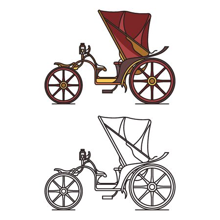 Open carriage of XIX century. Victorian or French chariot. Retro calash or buggy for marriage, caleche wagon for transportation. Isolated coach, outline or contour of cab. Retro and vintage, victoria Illustration