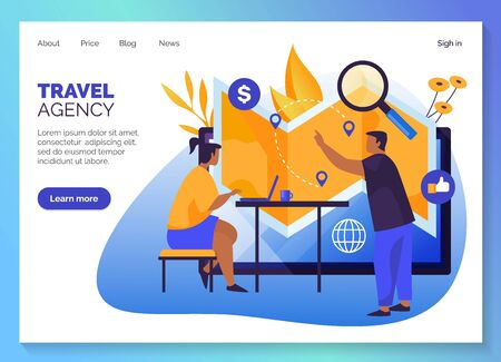 Travel agency website template design, vacations and holiday travel online tours shop web banners. Travel agency trips booking company lading page with menu interface, vector modern flat graphic Stock Illustratie