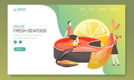 Landing page or web application background for seafood. Online order app for fresh sea, ocean food. Vegan or vegetarian nutrition banner with lemon and shrimp, salmon. Fish food promoting poster
