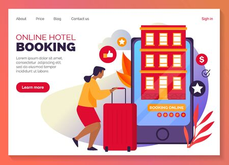 Hotel booking, rooms and apartments online reservation, vector web banner and landing page layout template. Hotel book and smart search service, mobile phone web application, flat graphic design Illusztráció