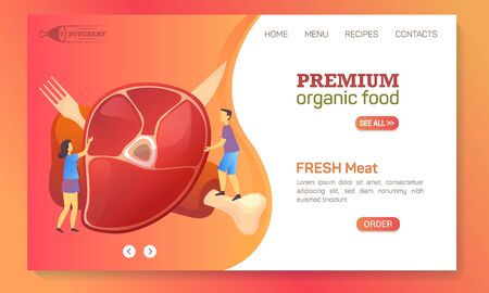 Meat food company website landing page template, butchery shop products, online store web banner. Farm fresh meat food market and delivery service, vector flat graphic modern design