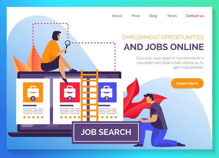 Job search portal website template, vector flat graphic, modern responsive design. HR company and human resources and headhunting agency web banner, job vacancy and professional employee online search