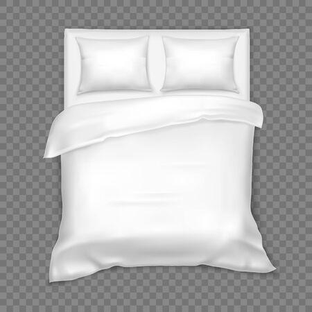 Bovenaanzicht op tweepersoonsbed met matras, wit linnen Vector Illustratie
