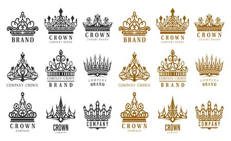 Set of isolated vintage crowns for company brand. Retro sign for advertising branding. Royal and king, queen and princess, prince headdress.