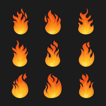 Set of isolated fire icon or danger sign, burn insignia and warning . Bonfire and campfire, game fireball and spark, energy and emoji, hell and flare, ignite, heat and warning.Cartoon lit or spark