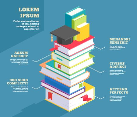 Stack of book infographic or educational school textbook pile background. Library and university, college concept. Stacked hardcover paper. Bookstore and studying, knowledge and study theme template Ilustração