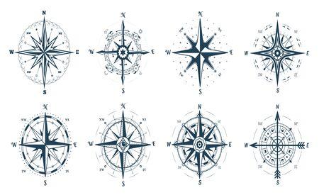 Set of wind rose compass, direction arrows Ilustración de vector