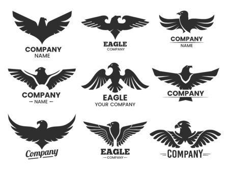 Set of Eagle or falcon black silhouettes Ilustrace