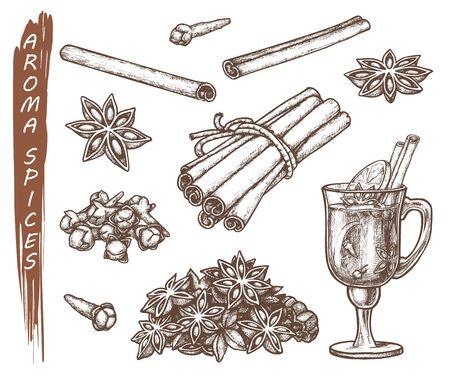 Zestaw na białym tle szkiców do aromatów przypraw. Korzenie gwiazdki anyżu i goździków, cynamon i cytryna w filiżance herbaty. Ręcznie rysowane przyprawy. Gotowanie i kuchnia, zioło i liść, ikona naturalnych i aromaterapii. Wektor