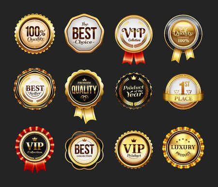 Sign for brand product or vip icon with ribbon Vettoriali