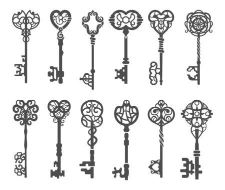 Silhouette chiave vintage o chiave scheletro vittoriano