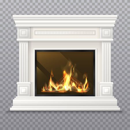 Realistic 3D classic fireplace with burning fire Vettoriali