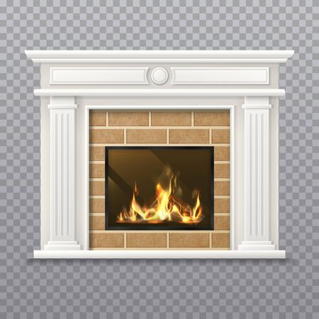 Vector realistic fireplace in a brick wall. Fire place isolated on transparent background. 3d hearth with flame or chimney with firewood, living room fireside with grate, stove. Interior for christmas