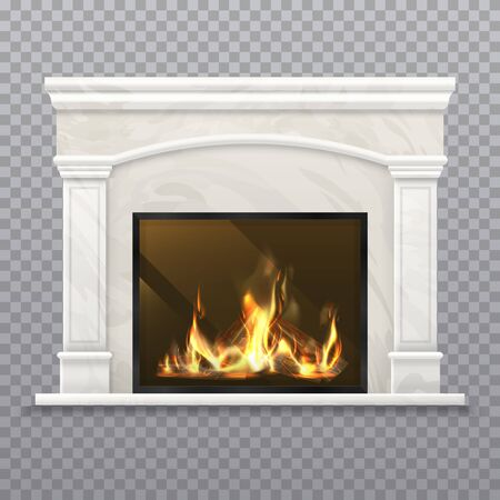 Chimney or vector fireplace with burning wood. 矢量图像