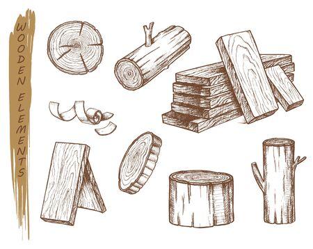 Isolated sketch of wooden elements, vintage lumber Ilustração Vetorial
