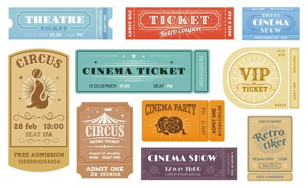 Cinema, circus funfair, theater show retro tickets