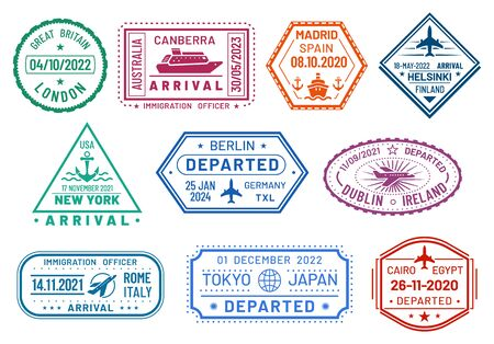 Passport  stamps set, arrival and departure