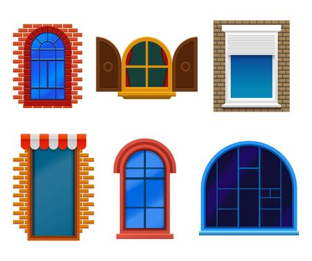 Flat windows set, wooden, plastic, modern and old