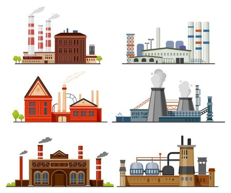 Factory, manufacture and industrial buildings, vector flat design. Factories with chimney pipes, chemical production, metallurgy, gas, oil and coal refinery plants, retro and modern architecture Ilustración de vector
