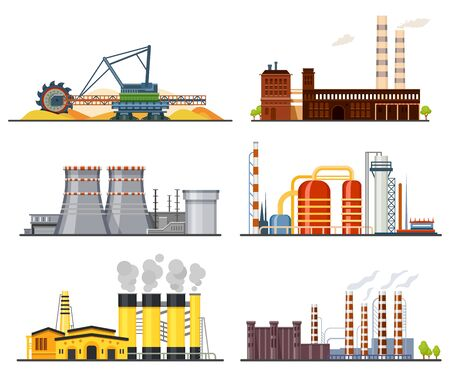 Factories or industrial plants, heavy industry set Ilustración de vector