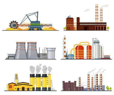 Factories or industrial plants, heavy industry set Vetores